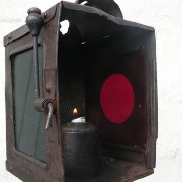 antique French coach lamp, industrial lantern, loft lantern, antique lantern, antique transport lantern, steampunk, gothic