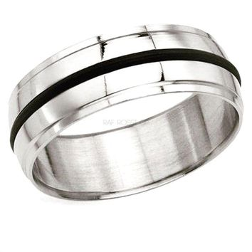One Rubber Band Stainless Steel Ring