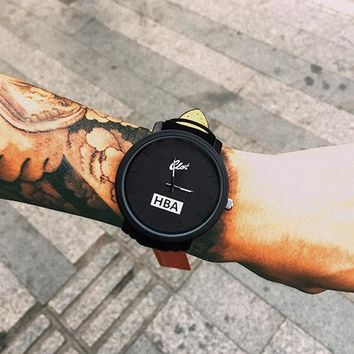 ca qiyif Fashion Brand HBA Leather Strap Unisex Watches Men Quartz Women Dress Watch Sports Military Relojes Geneva Wristwatch AB318