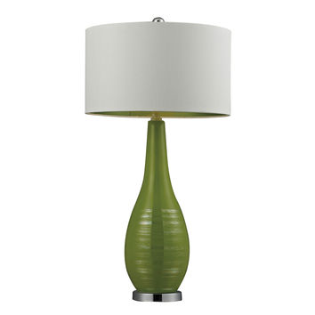 Etched Ceramic Table Lamp in Bright Green
