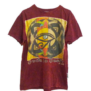 Eye of Horus print Dark red tshirt women tops men teenages clothing**crew neck t shirt size L, XL one size **short sleeve tshirt