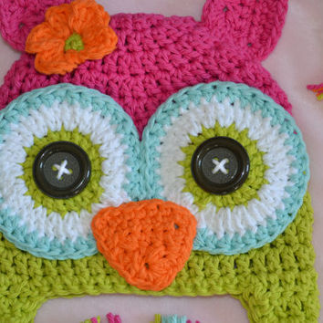owl hat, girls owl hat, crochet owl hat, kids hat. baby hat, crochet kids hat, crochet baby hat, custom colors