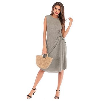 New Summer Knee-Length Dress Women Casual Vintage Dress Sexy Bandage Bodycon Sleeveless Dresses Sundress vestidos