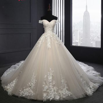 Jark Tozr Real Picture Boat Neck Princess Wedding Dress 2017 China Bridal Gowns Hand Made Flowers Lace Luxury Hochzeitskleid