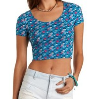 Turquoise Combo Lace-Back Floral Crop Top by Charlotte Russe