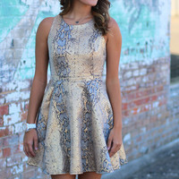 Snake Charmer Metallic Dress {Gold+Black}