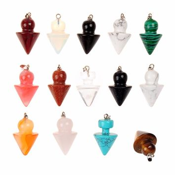 Druzy 12 Pieces Multi-color Stone Lovely Peg-Top Pendulum Opalite Crystal Reiki Healing Chakra Point Dowsing Metaphysical Charms
