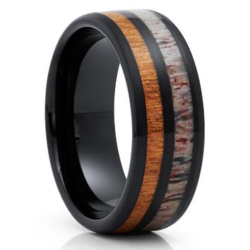 Deer Antler Wedding Band - Black Tungsten Ring - Cherry Wood Ring - 8mm