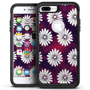 White Floral Pattern Over Red and Purple Grunge - iPhone 7 or 7 Plus Commuter Case Skin Kit