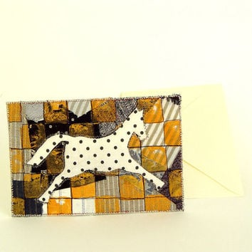 White Horse, Fiber Art Card, dotted horse, Pippi, black white gold, kids room decor