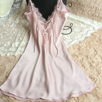 Thick Long Hot Sale Hot Deal Lace Sexy Spaghetti Strap Dress V-neck One-piece Sleepwear False Eyelashes [4920460292]
