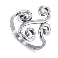Sterling Silver Swirl Design 2mm Wide Band Polish Finish Ring Size 5, 6, 7, 8, 9