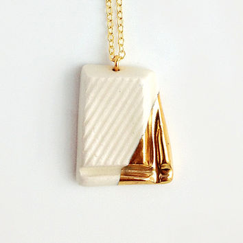White Chocolate with Gold Glaze - handmade ceramic jewellery dessert