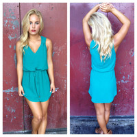 Teal Drawstring Tank Dress