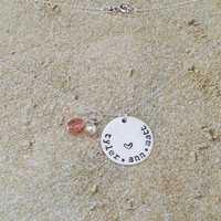 Necklace with Kids Names - Family Jewelry - Hand Stamped Necklace for Mom with Pearl and Dark Peach Glass Stone