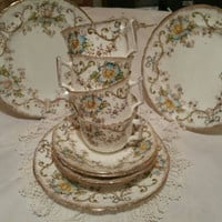 Vintage china trios /x4 tea cups saucers and tea plates/ pretty English china/ retro chintz /floral pottery