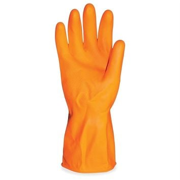 "ProGuard Deluxe Flock Lined 12"" Latex Gloves - X-Large Size - Latex - Orange - Embossed Grip, Extra Heavyweight, Durable, Acid R"
