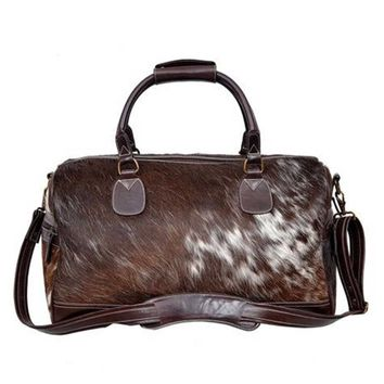 Authentic Handcrafted Cowhide Leather Overnight Duffel Bag