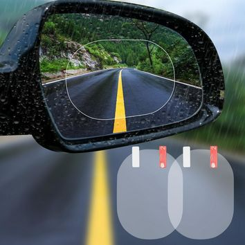 2PCS/Set Anti Fog Membrane Car Rear Mirror Sticker Anti-glare Waterproof Rainproof Window Clear Vision Film Auto Care