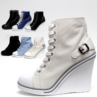 "Womens Cute Canvas Lace Up Zip Wedge Heel 4"" / Ladies Sneakers Look Ankle Boots"