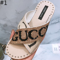 GUCCI 2018 summer new fashion open-toed wild women slippers F0229-1 #1