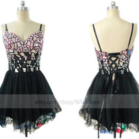 Handmade Colorful Rhinestons Organza Short Prom Dress/ Black Cocktail Dress/ Party Dress/ Homecoming Dress/ Short Formal Dress