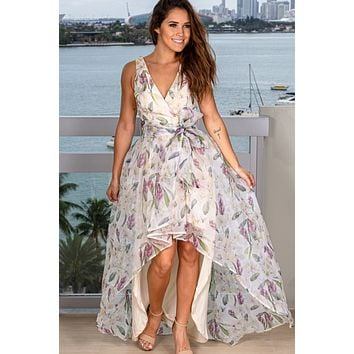 Ivory Floral High Low Dress with Tied Waist