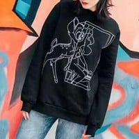 ONETOW D&G' Women Fashion Casual Small Deer Pattern Round Neck Long Sleeve Sweater Tops