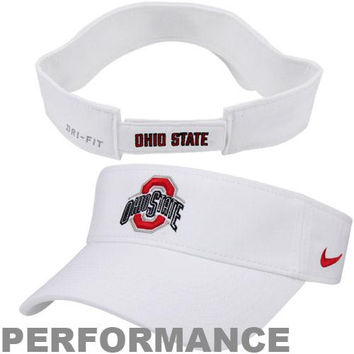 Nike Ohio State Buckeyes Dri-FIT Stadium Adjustable Performance Visor - White