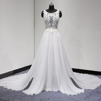 Sexy Wedding Dress See Through Unique Lace New Short Inside Chiffon Pieces