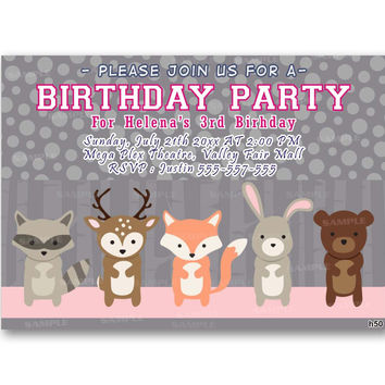 Woodland Friends forest animal fox deer bear Kids Birthday Invitation Party Design