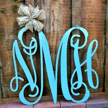 Three Letter Monogram, Three Letter Monogram Wedding Sign, Wall Sign, Metal Letters, Wedding Guest Book, Home Decor, Gift for Newlyweds