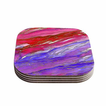 "Ebi Emporium ""Agate Magic - Red Lavender"" Purple Geological Coasters (Set of 4)"