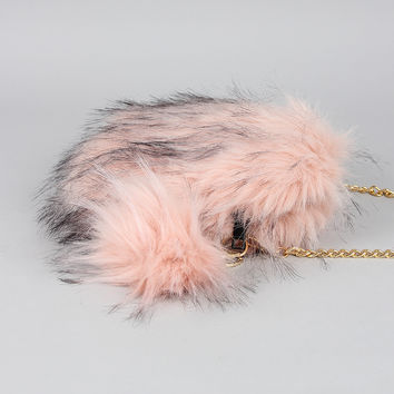 Two-Tone Faux Fur Bag