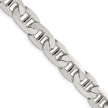 Men's 9.5mm, Sterling Silver, Solid Anchor Chain Necklace, 20 Inch