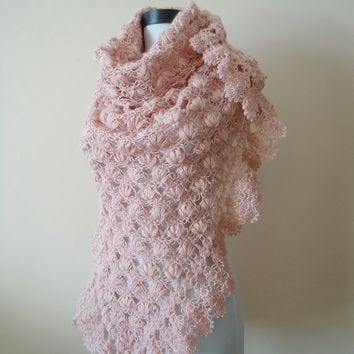 Triangle  Crochet Shawls, Valentine's day gift, Pink Shawl,Mother Day Gifts,Gift For Her