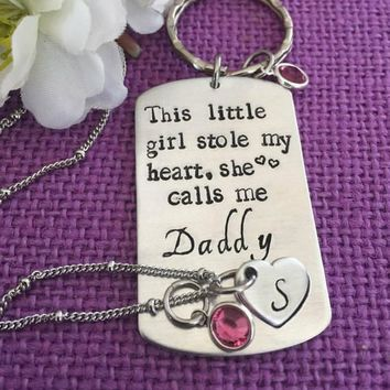 Daddy Daughter Gift Jewelry Set - Father's Day Gift - This girl stole my heart, calls me daddy - Gift for Dad - Personalized Necklace set