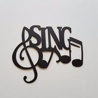 Sing Word and Musical Notes Metal Wall Art Decor