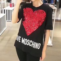 """Moschino"" Women Casual Fashion Sequin Love Heart Letter Print Short Sleeve T-shirt Top Tee"