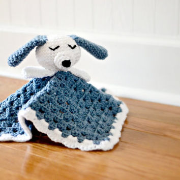 Puppy Dog Security Blanket Crocheted - Baby Blanket - Baby Toy - Dog Blanket - Crocheted Puppy - Dog Lovey