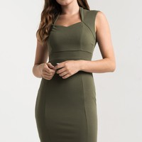 AKIRA Cap Sleeve Diamond Neck Zip Up Bodycon Dress in Light Olive, Burgundy