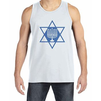 7 at 9 Apparel Men's Menorah Hanukkah Tank Top