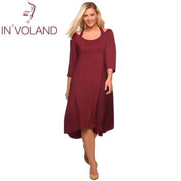 Plus Size XL-5XL 3/4 Sleeve Cutout A-Line Short Casual Large Dresses