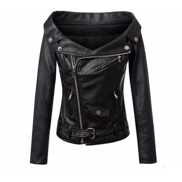Stylish Motorcycle Long Sleeve Women Leather Jacket