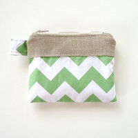 Chevron Clutch Linen Burlap in Green - Chevron Wallet - Chevron Bridesmaid Gift