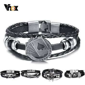 Vnox Lucky Vintage Men's Leather Bracelet Playing Cards Raja Vegas Charm Multilayer Braided Women Pulseira Masculina 7.87""