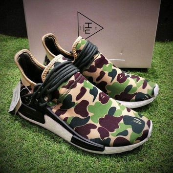 DCCKU62 Sale Bape x Adidas NMD Human Race Green Camo Boost Sport Running Shoes