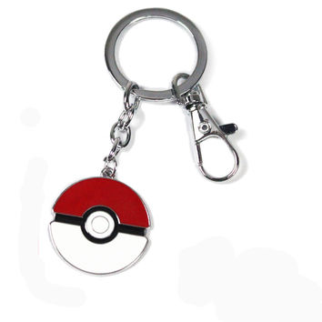 Pocket Monster Pokemon Pikachu Poke Ball Keychain Keyring Pendant Ash Ketchum