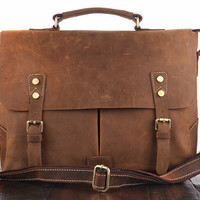 Vintage Crazy Horse Leather Golden Brown Satchel Bag