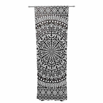 "Nika Martinez ""Mandala Bandana"" Black Abstract Decorative Sheer Curtain"